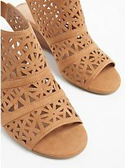 Tan Faux Suede Laser Cut Wedge Shootie (WW), , alternate