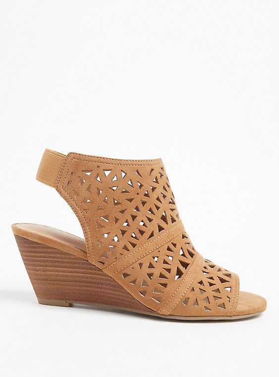Tan Faux Suede Laser Cut Wedge Shootie (WW), , hi-res