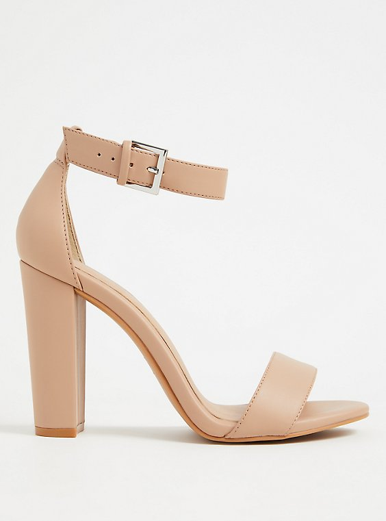 Plus Size Beige Faux Leather Ankle Strap Tapered Heel (WW), , hi-res