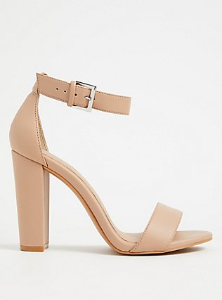 Nude Faux Leather Ankle Strap Tapered Heel (WW), NUDE, hi-res
