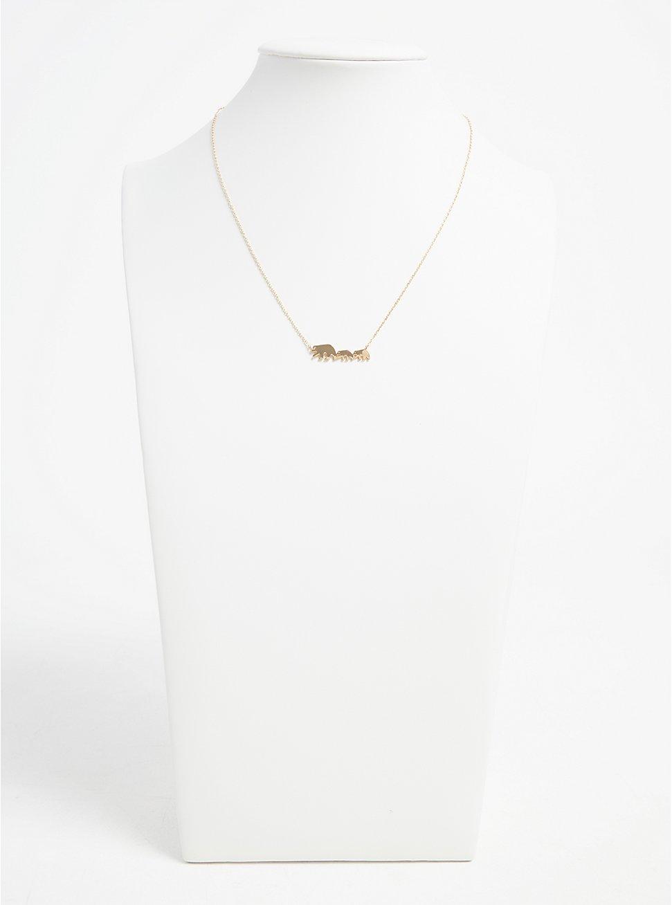 Gold-Tone Mama Bear Delicate Necklace, , hi-res