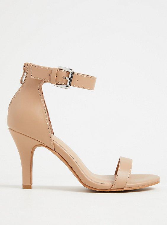 Nude Faux Leather Stiletto Heel (WW), , flat