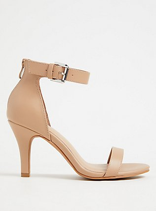 Nude Faux Leather Stiletto Heel (WW), NUDE, flat