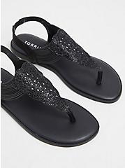 Black Rhinestone Stretch Strap Sandal (WW), BLACK, alternate