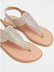 Beige Rhinestone Stretch Strap Sandal (WW), , alternate