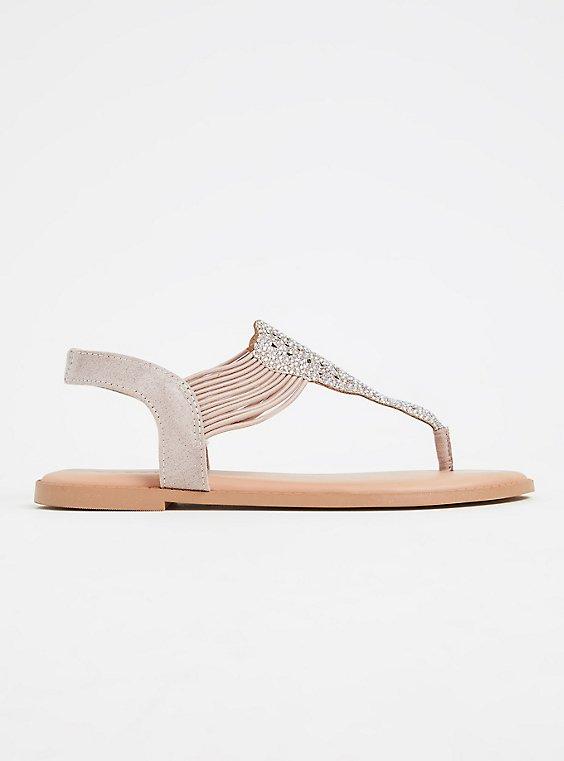 Beige Rhinestone Stretch Strap Sandal (WW), , hi-res