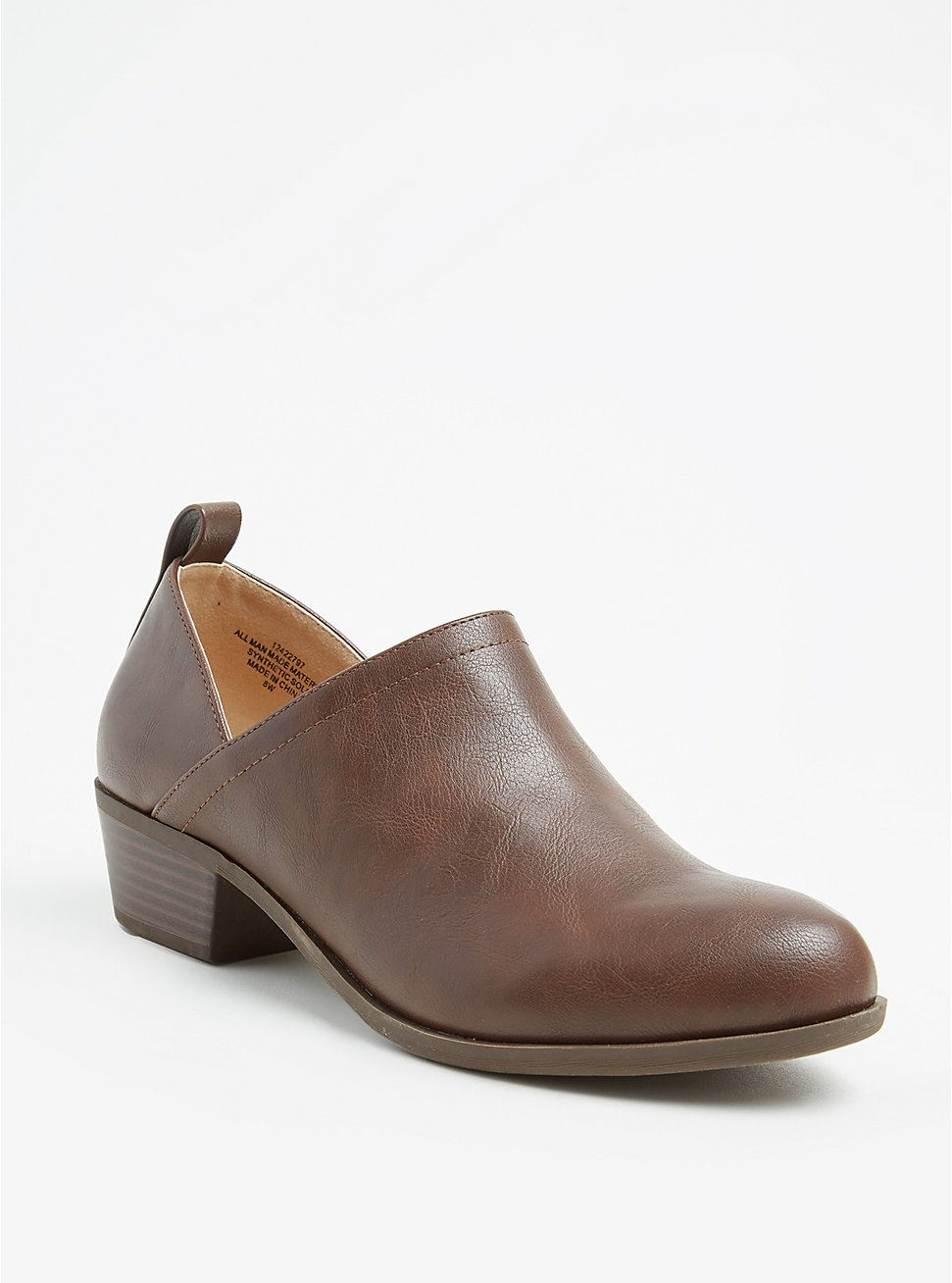 Brown Textured Faux Leather V-Cut Ankle Boot (WW), COGNAC, hi-res