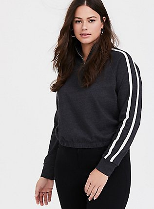Plus Size Charcoal Grey Striped Crop Pullover, CHARCOAL HEATHER, hi-res