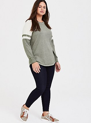 Plus Size Olive Green & Ivory Raglan Football Sweatshirt, LIGHT OLIVE, alternate