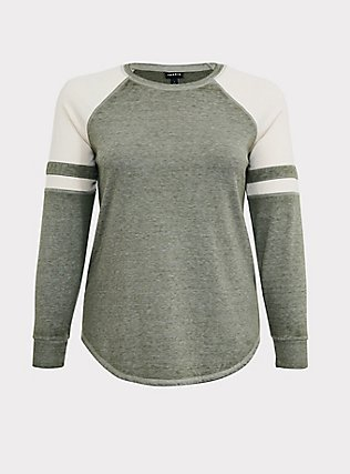 Plus Size Olive Green & Ivory Raglan Football Sweatshirt, LIGHT OLIVE, flat
