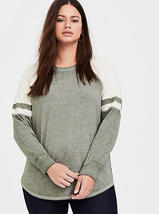 Plus Size Olive Green & Ivory Raglan Football Sweatshirt, LIGHT OLIVE, hi-res