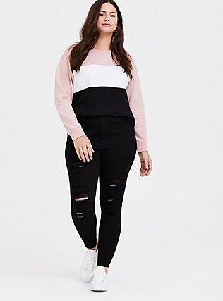 Plus Size Multicolored Colorblock Sweatshirt, COLOR BLOCK RUSH, alternate