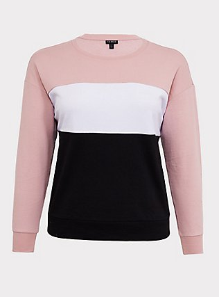 Plus Size Multicolored Colorblock Sweatshirt, COLOR BLOCK RUSH, flat