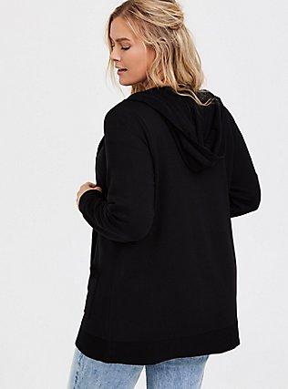 Super Soft Fleece Black Hooded Cardigan, DEEP BLACK, alternate