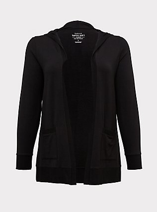Super Soft Fleece Black Hooded Cardigan, DEEP BLACK, flat