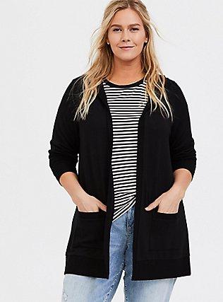 Super Soft Fleece Black Hooded Cardigan, DEEP BLACK, hi-res