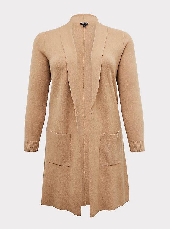 Tan Brushed Shawl Collar Cardigan Coat, , flat
