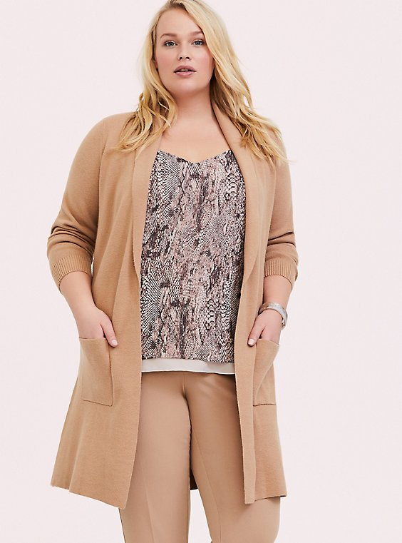 Plus Size Tan Brushed Shawl Collar Cardigan Coat, , hi-res