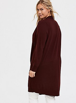 Plus Size Chocolate Brown Rib Open Front Cardigan, CHOCOLATE BROWN, alternate