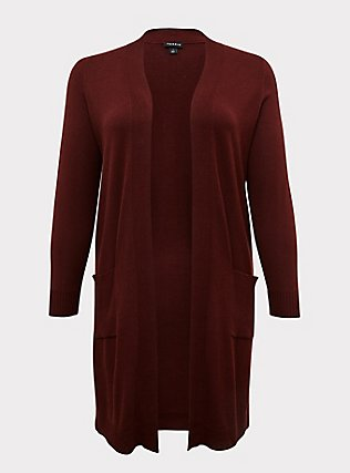 Plus Size Chocolate Brown Rib Open Front Cardigan, CHOCOLATE BROWN, flat