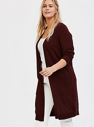 Plus Size Chocolate Brown Rib Open Front Cardigan, CHOCOLATE BROWN, hi-res