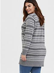 Grey & Multi Pastel Stripe Boyfriend Cardigan, STRIPE - MULTICOLOR, alternate
