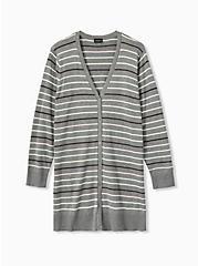 Grey & Multi Pastel Stripe Boyfriend Cardigan, STRIPE - MULTICOLOR, hi-res