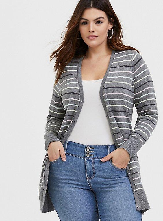Grey & Multi Pastel Stripe Boyfriend Cardigan, , hi-res