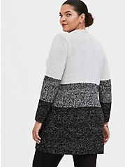 Grey Colorblock Open Front Cardigan, STRIPE - GREY, alternate