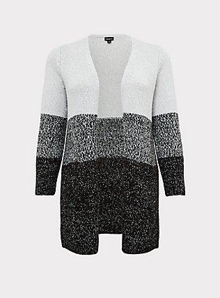 Grey Colorblock Open Front Cardigan, STRIPE - GREY, flat