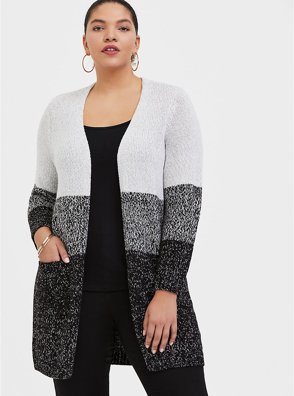Grey Colorblock Open Front Cardigan, STRIPE - GREY, hi-res