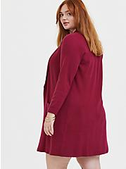 Red Wine Shawl Collar Open Front Cardigan Coat, BEET RED, alternate