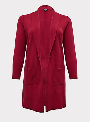 Plus Size Red Wine Shawl Collar Open Front Cardigan Coat, BEET RED, flat
