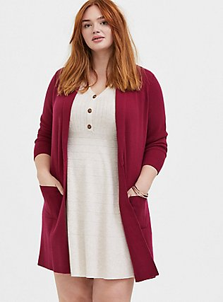 Plus Size Red Wine Shawl Collar Open Front Cardigan Coat, BEET RED, hi-res