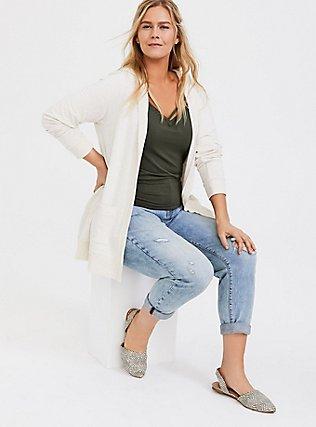 Super Soft Fleece Oatmeal Hooded Cardigan, LILAC SNOW, alternate