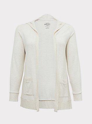 Super Soft Fleece Oatmeal Hooded Cardigan, LILAC SNOW, flat