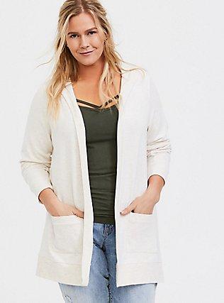 Super Soft Fleece Oatmeal Hooded Cardigan, LILAC SNOW, hi-res