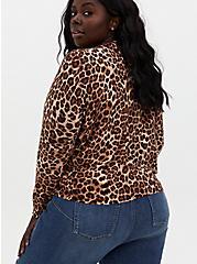 Plus Size Leopard Cotton Button Front Cardigan, LEOPARD, alternate