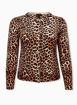 Plus Size Leopard Cotton Button Front Cardigan, LEOPARD, flat