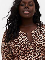 Plus Size Leopard Cotton Button Front Cardigan, LEOPARD, hi-res