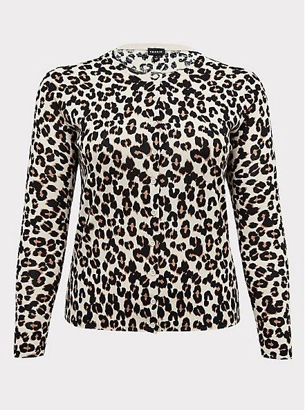 Button Front Cardigan - Cotton Leopard, LEOPARD, hi-res