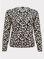Leopard Cotton Button Front Cardigan, LEOPARD, hi-res