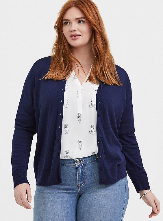 Plus Size Navy Cotton Button Front Cardigan, , hi-res