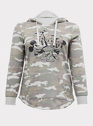 Plus Size Disney Mickey & Friends Camo Hoodie, CAMO, flat