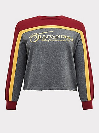 Plus Size Harry Potter Ollivanders Grey Fleece Crop Sweatshirt, MEDIUM HEATHER GREY, flat