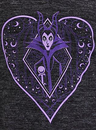 Disney Villains Maleficent Charcoal Grey Hacci Crisscross Handkerchief Tunic Top, BLACK  CHARCOAL, alternate