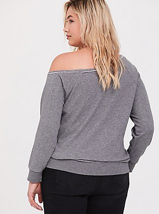 Plus Size Disney Cinderella Coffee Meme Grey Off Shoulder Sweatshirt, HEATHER GREY, alternate