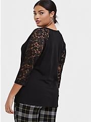 Black Slub & Lace Sleeve Lace-Up Tee, DEEP BLACK, alternate
