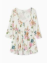 Plus Size Super Soft White Floral Babydoll Top, FLORAL - IVORY, hi-res