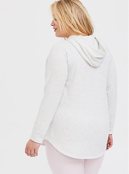 Oatmeal Fleece Raglan Tunic Hoodie, OATMEAL HEATHER, alternate